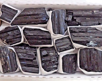 Bulk Extra 'A' Grade Shiny Rough Black Tourmaline Rod Log 10 - 15 Piece 1.5- 1.9 lb