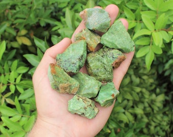 Rough Natural Green Chrysoprase Premium Grade Stones: Choose How Many Pieces (Raw Green Chrysophrase)