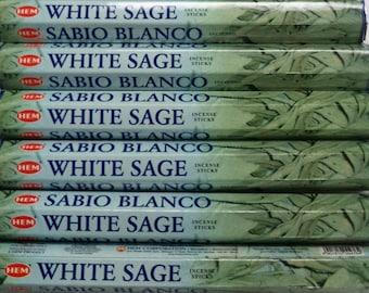 Hem Incense Sticks WHITE SAGE - You Pick Amount: 20 40 60 80 100 or 120 Sticks