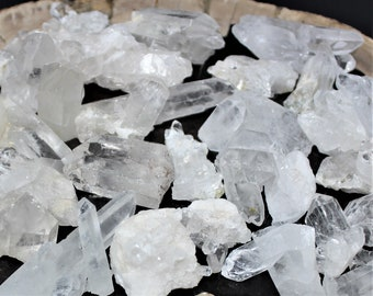Mini Clear Quartz Crystal Clusters, Points and Peices: Choose 4 oz, 8 oz, 1 lb, 2 lb (Crystal Geode, Clear Quartz Cluster, Quartz Point)