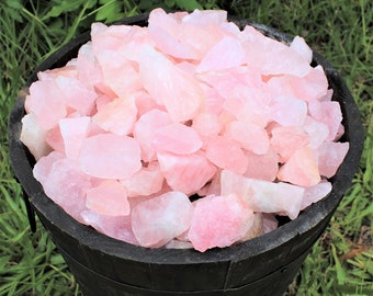 Rose Quartz Rough Natural Stones: Choose 4 oz, 8 oz, 1 lb, 2 lb 5 lb or 11 lb Bulk (Raw Rose Quartz, Rough Rose Quartz, 'A' Grade)