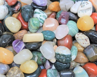 Assorted Mixed Tumbled Stones LARGE 2 lb Wholesale Bulk Lot (Mixed Tumbled Stones, Assorted Tumbled Stones, 2 Pounds)