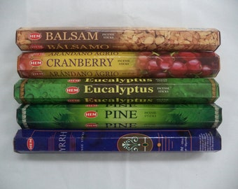 Christmas Incense Set #4: 100 Sticks (20 each of Balsam / Myrrh / Cranberry / Pine / Eucalyptus) HEM Brand