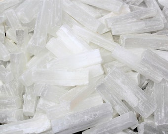 "White Selenite 3"" Sticks: 30 Piece Bulk Lot, Raw Rough Natural Sticklets / Wands (Crystal Healing, Reiki, Meditation, Chakra)"