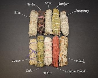 Sage Bundle: Smudge Kit 10 Stick SAMPLER - White, Black, Blue, Cedar, Dragon, Yerba, Desert, Love, Juniper, Prosperity (Sage Smudge Stick)