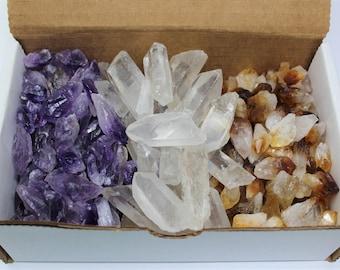 Amethyst Citrine Quartz Points: 3 Crystal Collection, 1/2 Lb Box (8 oz, Amethyst Points, Citrine Points, Quartz Points, Natural Points)