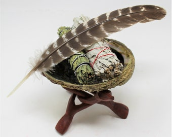 "Smudge Kit - Premium Abalone Shell, White Sage, Cedar Sage Smudge Sticks, Feather, 6"" Tripod Stand & Directions"