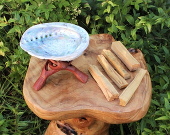 "Smudge Kit - Premium Light Abalone Shell PLUS 6"" Tripod Stand PLUS 5 Palo Santo Wood Sticks PLUS Directions (House Cleansing, Smudging)"