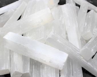 "5"" Selenite Logs Crystal Sticks Wand Blade - You Choose Amount (8 oz, 1 lb, 2 lb, 3 lb, 5 lb, 10 lb or 15 lb) Bulk Wholesale Lot"