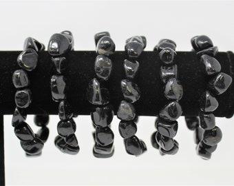 Black Tourmaline Tumbled Gemstone Bracelet: 6-8 mm Stones (Black Tourmaline, Stretch Bracelet, Tumbled Stone Bracelet, Gift)