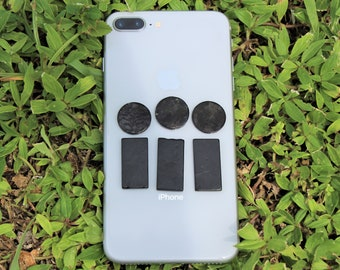 Shungite Cell Phone Plate Sticker - Circle or Rectangle Shapes: Anti Radiation, EMF Protection