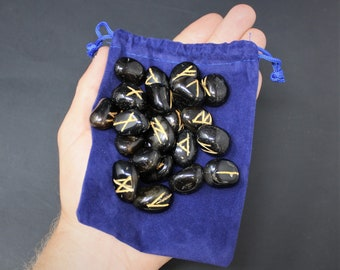 Black Onyx Rune Stone Set and Velvet Storage Pouch, NEW (Elder Futhark, Crystal Runestones, Black Onyx)