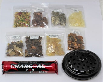 8 Resin Incense Kit: Burner - Charcoal - Frankincense - Myrrh - Opoponax - Benzoin - Copal - Dragons Blood - 7 Archangels - Frank & Myrrh
