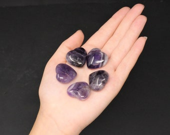 "Amethyst Heart Stone: 1"" (Crystal Heart, Carved Gemstone Heart, Pocket Heart, Puffed Heart, Stone Heart)"