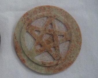 """Pentagram Altar Tile, 3"""" Soapstone (Pentacle Altar Tile)"""