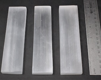 "Set 3 Polished Selenite Charging Stations: 6"" Flat Crystal Plates (Protection Cleansing Meditation Crystal Healing Chakra)"