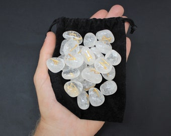 Clear Quartz Rune Stone Set and Velvet Storage Pouch, NEW (Elder Futhark, Crystal Runestones, Clear Quartz)