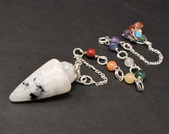 Rainbow Moonstone Pendulum & 7 Chakra Chain (Crystal Pendulum, Dowsing, Divination)