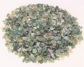 Moss Agate Semi Tumbled Gemstone Mini Chips 5 - 15 mm: Choose 2 oz, 4 oz, 8 oz or 1 lb Loose Bulk Lots (Moss Agate Chips)
