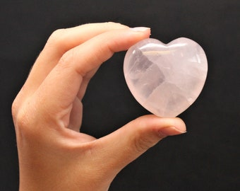 "Rose Quartz Heart Stone: 1.75"" (Crystal Heart, Gemstone Heart, Palm Heart, Puffed Heart, Stone Heart, Carved Heart)"