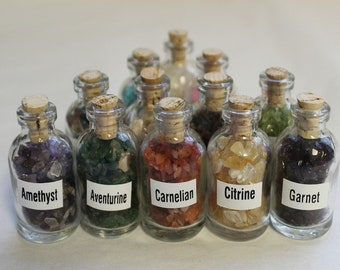 Mini Gemstone Chip Bottles: Set of 7, 9 or 12 (Tumbled Gem Stones Chips, Gemstone Bottles, Crystal Chips, Crystal Bottle)