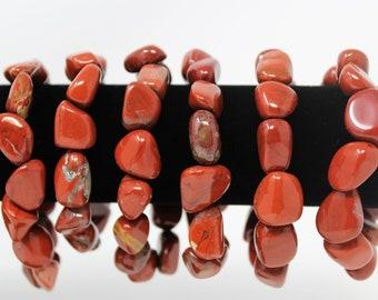 Red Jasper Tumbled Gemstone Bracelet: 6-8 mm Stones (Red Jasper, Stretch Bracelet, Tumbled Stone Bracelet, Gift)
