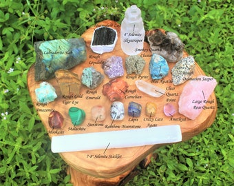 Premium Crystal Kit, 22 pcs - Protection Healing Sets PLUS Natural Rough & Tumbled Crystal Specimens (Healing Crystals and Stones)