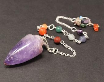 Amethyst Pendulum & 7 Chakra Chain (Crystal Pendulum, Dowsing, Divination)