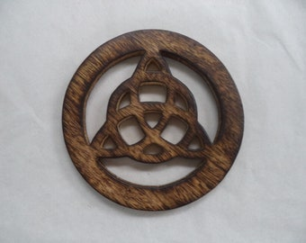 "Triquetra Altar Tile, 4"" Wooden Carved and Stained (Altar Tile)"