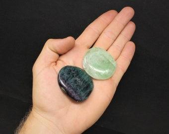 Fluorite Palm Stone: MEDIUM Rounded Shape (Smooth Polished Fluorite Worry Stone, Palm Stone, Pocket Stone, Quartz Crystal)