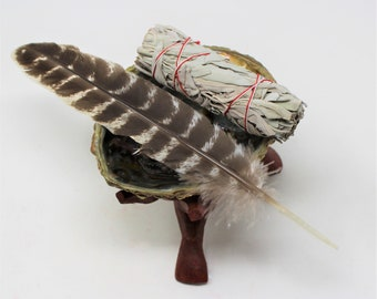 """Smudge Kit - Premium Abalone Shell, White Sage Smudge Stick, Smudging Fan (Feather) 6"""" Tripod Stand and Directions"""