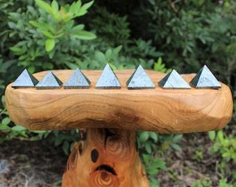 "Hematite Crystal Pyramid, Medium 1"" - 1.25"" (Crystal Pyramid, Gemstone Pyramid, Stone Pyramid, Carved Pyramid)"