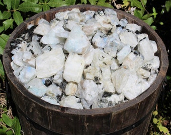Raw Rainbow Moonstone Gemstone Crystals: Choose 4 oz, 8 oz 1 lb or 2 lb Loose Bulk Lots (Rough Rainbow Moonstone)