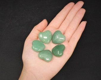 "Green Aventurine Heart Stone: 1"" (Crystal Heart, Carved Gemstone Heart, Pocket Heart, Puffed Heart, Stone Heart, Aventurine)"