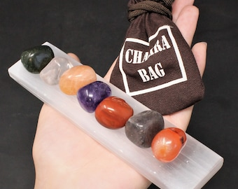 "7 Tumbled Gemstones Chakra Stone Set, Carry Pouch, 6"" Polished Selenite Charging Station Crystal Plate + Guide (Crystal Healing Reiki)"