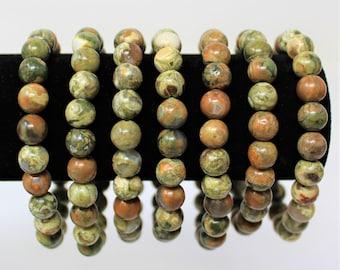 Rhyolite 8 mm Round Bead Gemstone Bracelet (Rhyolite Stretch Bracelet, Crystal Bracelet, Gift)