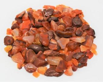 Carnelian Semi Tumbled Gemstone Mini Chips 5 - 15 mm: Choose 2 oz, 4 oz, 8 oz or 1 lb Loose Bulk Lots (Carnelian Chips)
