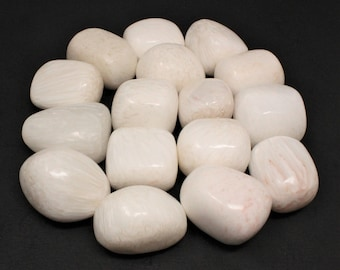 """Scolecite Tumbled Stones (0.75"""" - 1""""): Choose How Many Pieces ('A' Grade, Tumbled Scolecite)"""
