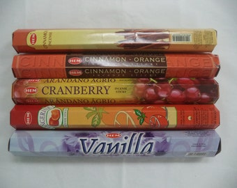 Christmas Incense Set #3: 100 Sticks (20 each of Cinnamon / Vanilla / Cranberry / Tangerine / Cinnamon - Orange) HEM Brand