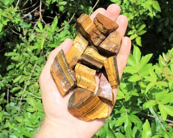 Gold Tiger Eye Rough Natural Stones: Choose How Many Pieces (Raw Tiger Eye, Rough Tiger Eye, 'A' Grade)