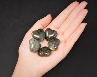 "Labradorite Heart Stone: 1"" (Crystal Heart, Carved Gemstone Heart, Pocket Heart, Puffed Heart, Stone Heart)"
