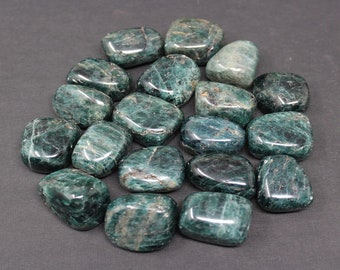 Blue Apatite Tumbled Stones: Choose How Many Pieces  ('A' Grade, Blue Green Apatite Tumbled, Tumbled Blue Apatite, Polished Blue Apatite)