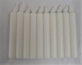 "White 4"" Chime Candles - Set of 10 Spell Candles (Spell Candles, Candle Magick, Wicca, Pagan, Altar)"