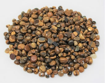 Tiger Eye Semi Tumbled Gemstone Mini Chips 5 - 7 mm: Choose 2 oz, 4 oz, 8 oz or 1 lb Loose Bulk Lots (Gold Tigers Eye Chips)