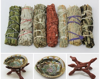 Home Smudging Kit - Abalone Shell, Stand and 7 Different Sage Smudge Bundles & How To Smudge Directions (Sage Smudge Sticks)