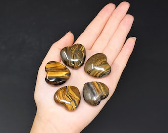"Gold Tiger Eye Heart Stone: 1"" (Crystal Heart, Carved Gemstone Heart, Pocket Heart, Puffed Heart, Stone Heart, Tiger Eye Gold)"