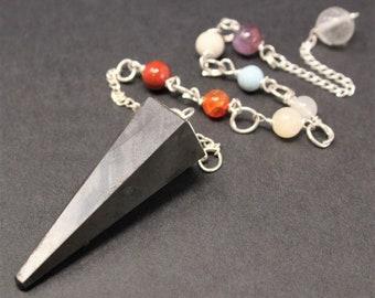 Shungite Pendulum, Faceted & 7 Chakra Chain (Crystal Pendulum, Dowsing, Divination, EMF)