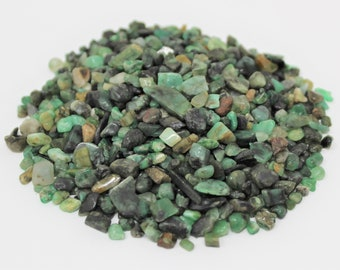 Emerald Semi Tumbled Gemstone Mini Chips 5 - 12 mm: Choose 2 oz, 4 oz, 8 oz or 1 lb Loose Bulk Lots (Emerald Chips)