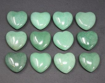 "10 Green Aventurine Hearts: Puffed 1"", WHOLESALE BULK LOT  (Crystal Healing, Pocket Heart, Rose Quartz Crystal, Rose Quartz Stone Heart)"