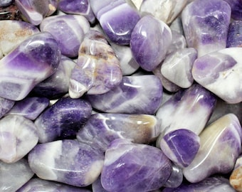 Chevron Amethyst Tumbled Stones: Choose 2 oz, 4 oz, 8 oz or 1 lb Bulk Lots ('A' Grade, Tumbled Banded Amethyst, Healing Crystals)